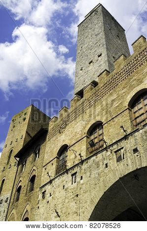 Medieval tower in San Gimignano, Tuscany. Color image