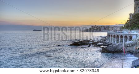 Ligurian coastline, Genoa, sunset panorama. Color image