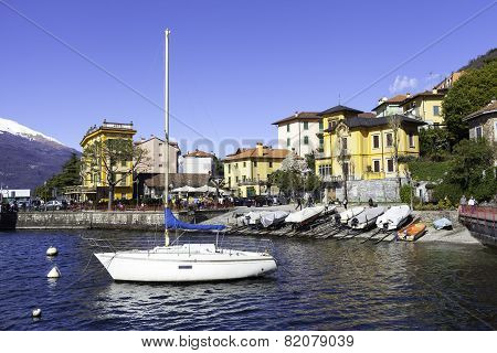 Varenna, Lecco Lake ferry moorage. Color image