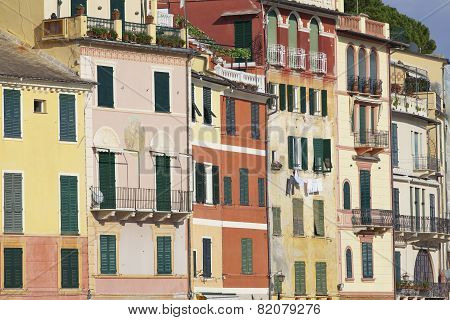Portofino old houses detail. Color image