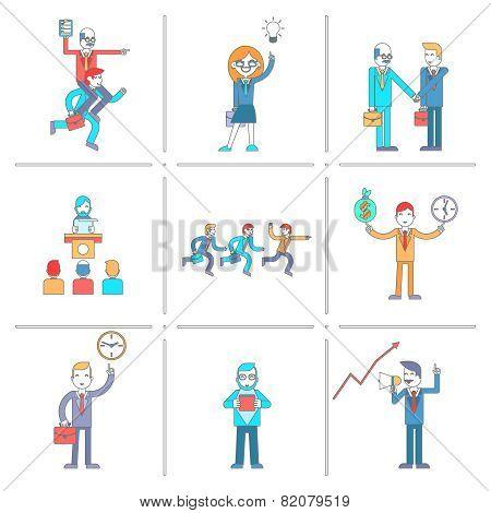 Businessman character line icons set