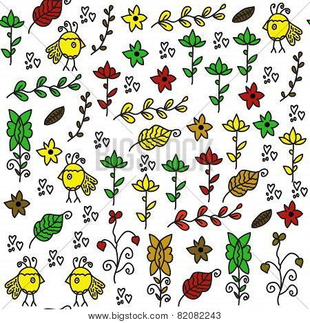 Kids Seamless Pattern With Funny Birds  And Seamless Pattern In Swatch Menu, Vector Illustration
