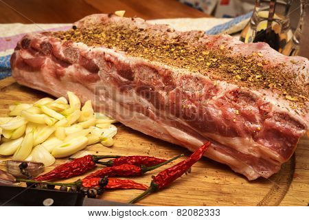 Fresh Pork Ribs, Meat Marinated And Prepared For Roast