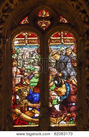 Spanish Preist Feeding Peasants Stained Glass Salamanca New Cathedral Spain