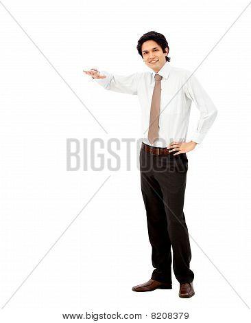 Business Man Displaying Something