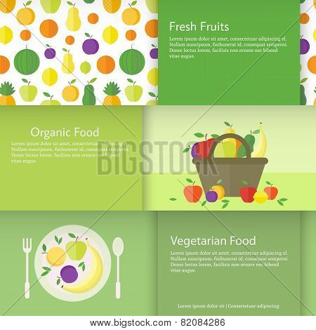 Banners Or Cards With Fruits, Plate And Basket In Flat Style. Vector Illustration