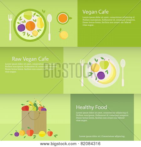 Banners Or Cards With Fruits, Plate And Package In Flat Style. Vector Illustration