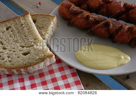 Delicious Sausages With Bread