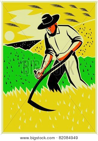 Farmer With Scythe Harvesting  Field Retro