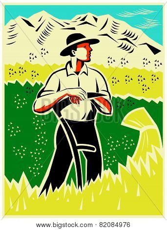 Farmer Standing With Scythe Field Woodcut