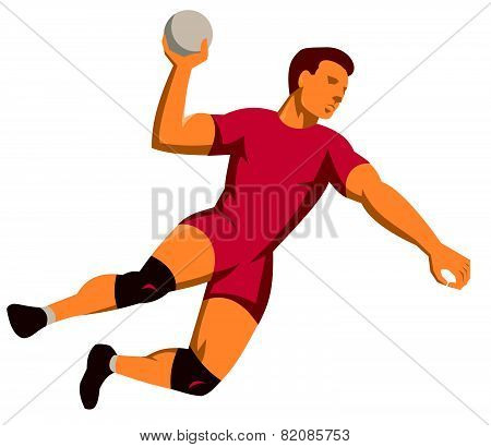 Handball Player Jumping Shooting Retro