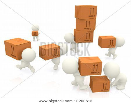 3D People Carrying Boxes