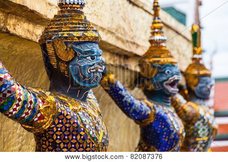 Garuda statues in the Grand Palace. Temple of the Emerald Buddha. Wat Pra-keaw Bangkok, Thailand.