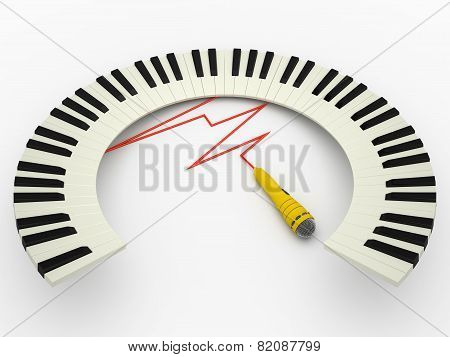 Curved Piano Keyboard An Microphone, 3D