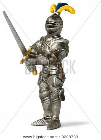 Toy Knight In Shining Armour Brandishing His Sword