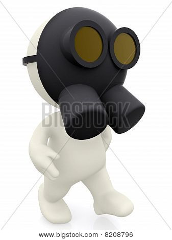 3D Man With A Gas Mask