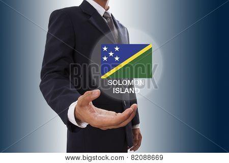 Businessman with Solomon Islands Flag