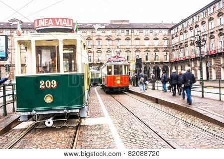 The historic tram in Turin, Italy