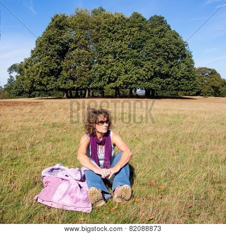 Relaxed Sitting Woman
