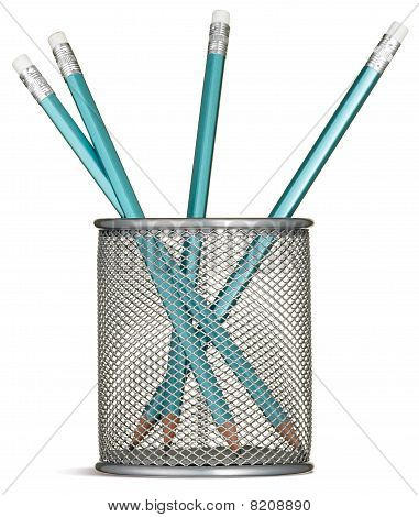 Blue Pencils In A Silver Pencil Pot On A White Background