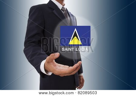 Businessman hand showing Saint Lucia Flag