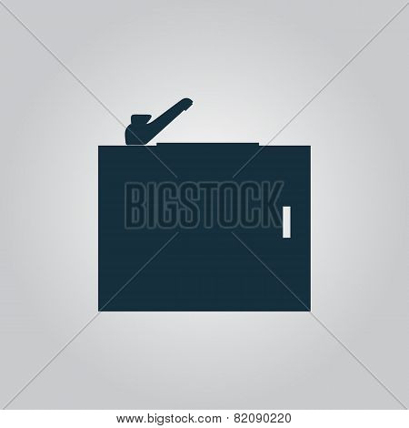 Kitchenware sink basin icon, sign and button