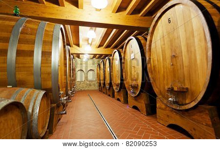 Wooden barrels with wine in a wine vault Italy