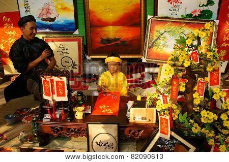 Vietnam Tet, Asian Kid, Calligraphy Fair