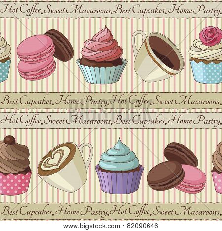 Cupcakes and coffee pattern, light yellow
