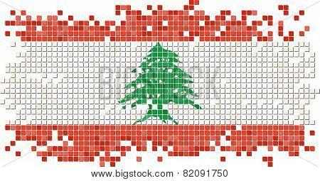 Lebanese grunge tile flag. Vector illustration