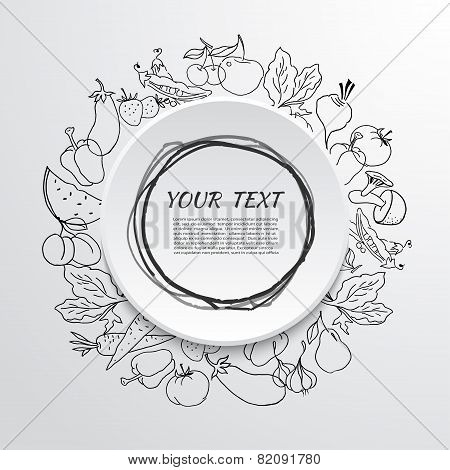 Fruits And Vegetables Label Over White Background