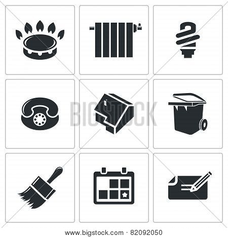 Utilities, Domestic Problems Vector Icons Set