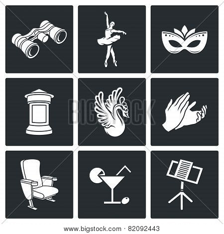 Art, Theater, Ballet, Opera Vector Icons Set