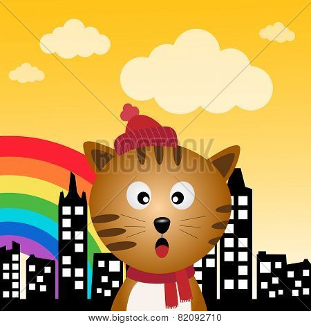 Cat and rainbow in the city