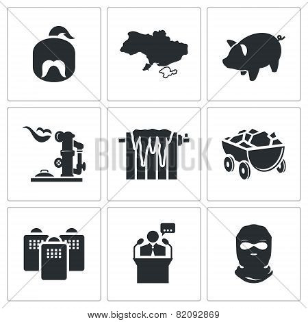Ukraines Energy Problems Vector Icons Set