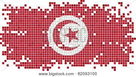 Tunisian grunge tile flag. Vector illustration