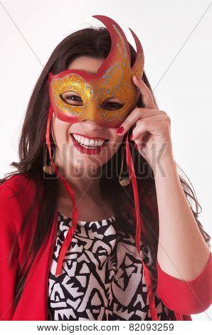 Pretty Woman Portrait With Mask