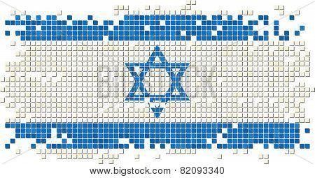 Israeli grunge tile flag. Vector illustration