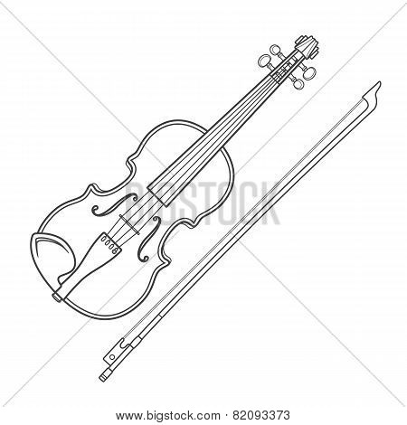 dark contour vector fiddle violin