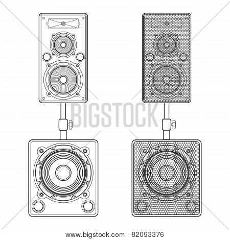 dark contour loudspeakers on subwoofers technical illustration
