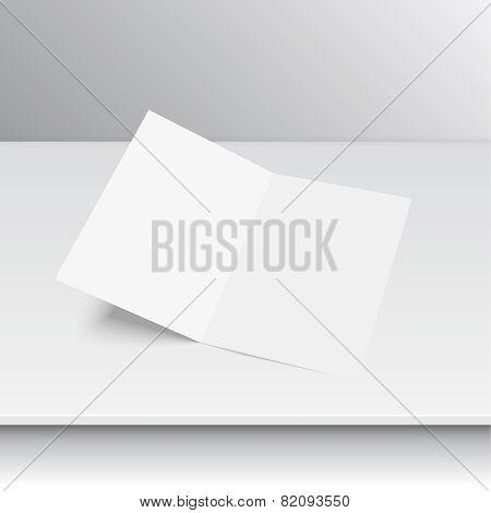 Lying blank two fold paper
