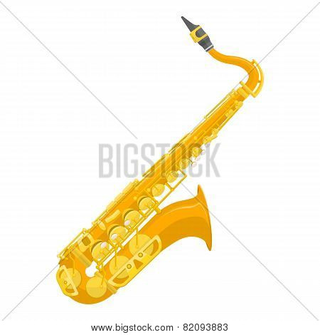 flat design colored copper brass alto saxophone illustration