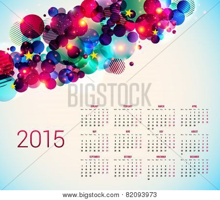 Calender for year 2015. Abstract background with geometric shapes. V