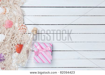 Gift Box With Net And Bottle