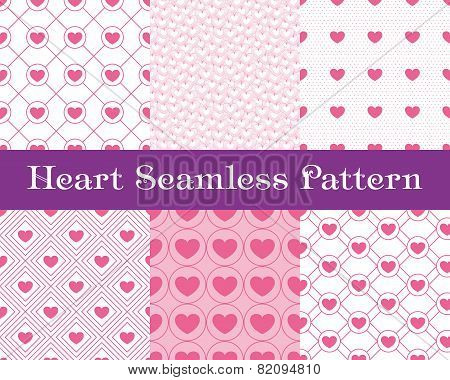 Heart  Seamless Patterns. Pink Color. Endless Tiling Texture For Printing Onto Fabric And Paper Or S
