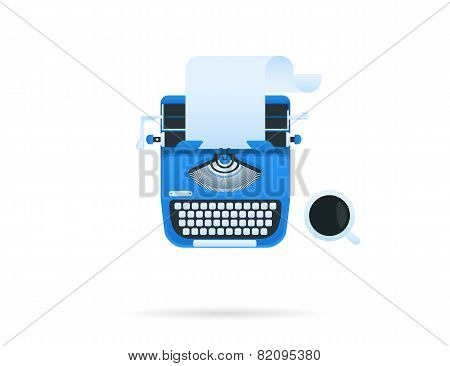Blue typewriter