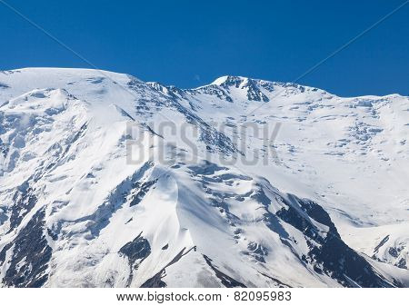 The summit of Leinin peak view from camp 2 Pamir mountains Kyrgyzstan