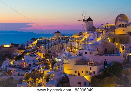 Sunset in Oia village, Santorini, GReece