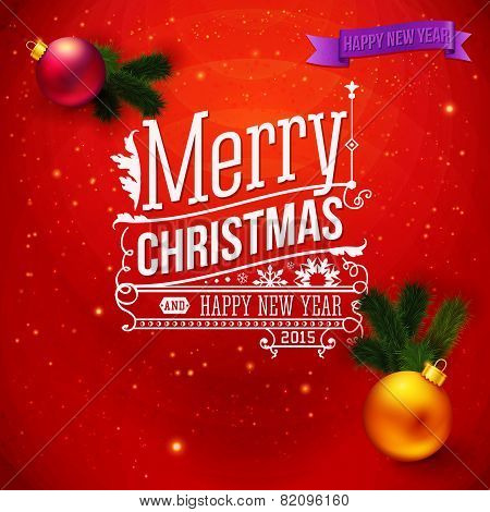 Red traditional Christmas card. Typography design, realistic Chr