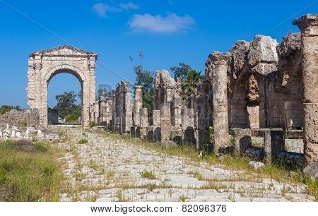Ruins of ancient Roman Triumphal Arch Tyre Lebanon